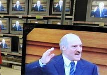 Александр Лукашенко на телеэкранах. Фото с сайта telegraf.by